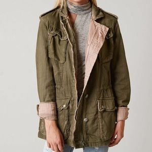 Free people double cloth utility jacket green S